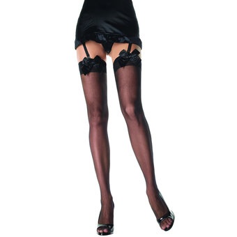 Leg Avenue Sheer Thigh High Stockings with Satin Bow Tops