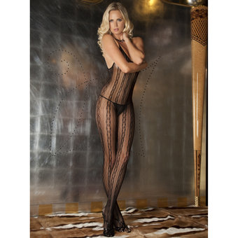 Rene Rofe Sheer Patterned Crotchless Bodystocking