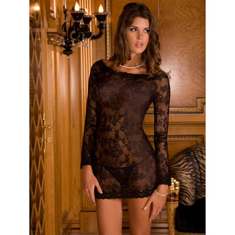 Rene Rofe Long Sleeve Chemise Dress and Thong Set