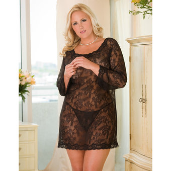 Rene Rofe Plus Size Rene Rofe Long Sleeve Chemise Dress and Thong Set