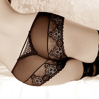 Roza Genezis Lace and Mesh Knickers at BeCheeky!