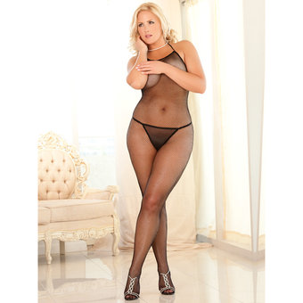 Rene Rofe Plus Size Halter Neck Fishnet Bodystocking