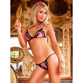 Baci Lingerie Lace Up Bikini Bra Set