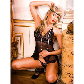 Baci Lingerie Halterneck Babydoll and Thong Set