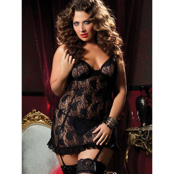 Seven Til Midnight Plus Size Paisley Pattern Lace Chemise and G-String Set