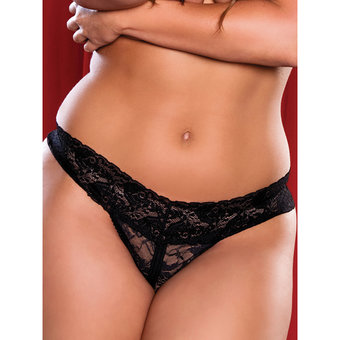 Seven Til Midnight Plus Size Lace Crotchless Thong