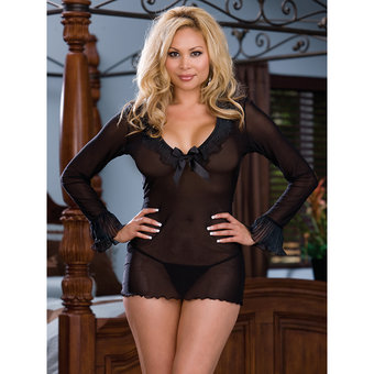 Dreamgirl Plus Size Sheer Enticement Long Sleeve Chemise