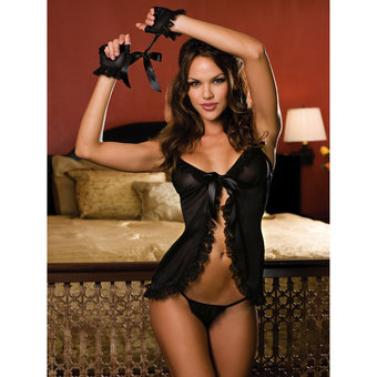 Dreamgirl Satin Babydoll and Sheer Gloves Set