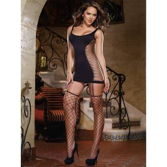 Dreamgirl All-In-One Fence Net Chemise and Stockings