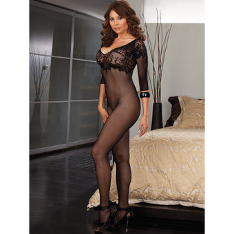 Dreamgirl Black Diamond Plus Size Fishnet and Lace Crotchless Bodystocking