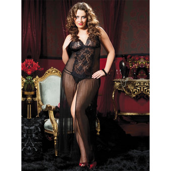 Seven Til Midnight Plus Size romantisches bodenlanges Netzkleid