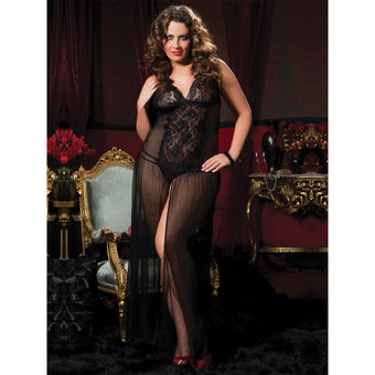 Seven Til Midnight Plus Size Moonlight Magic Floor Length Mesh Dress