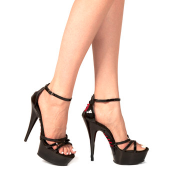 Pleaser Delight Lace-Up Platform Stilettos - Size 6