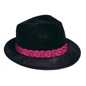 Mobster Gangster Hat with Pink Lace Trim