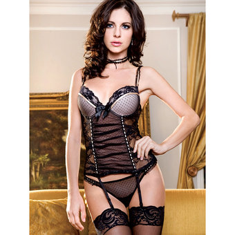 iCollection Sheer Lace Basque and Choker Set