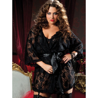 Seven Til Midnight Plus Size Paisley Pleasure Lace Robe