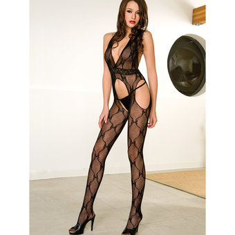 Music Legs See Through Lace Bodystocking