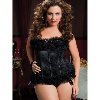 Seven Til Midnight Plus Size Satin Jacquard Print Bustier and G-String