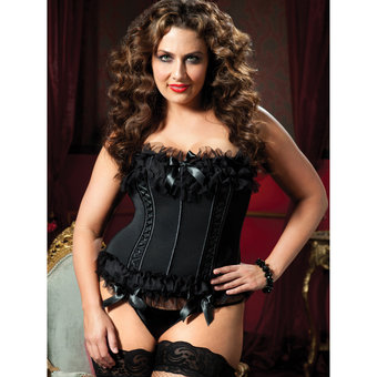 Seven Til Midnight Plus Size Sheer Ruffle Bustier and G-String Set