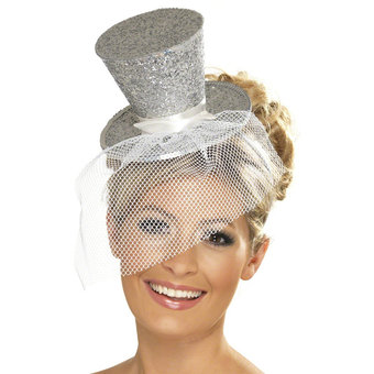 Fever Glittery Burlesque Mini Top Hat with Netting