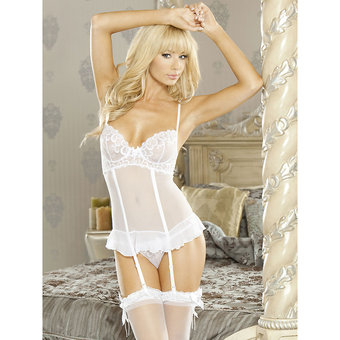 Fantasy Embroidered Bridal Corselette Garter Dress and G-String Set at BeCheeky!