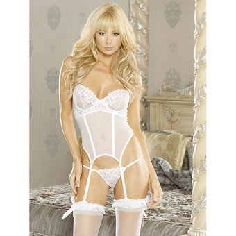 Fantasy Embroidered Basque and G-String Set