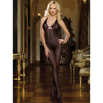 Dreamgirl Black Diamond Sheer Knitted Bodystocking with Bow Detailing