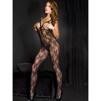 Music Legs Open Bust Crotchless Bodystocking