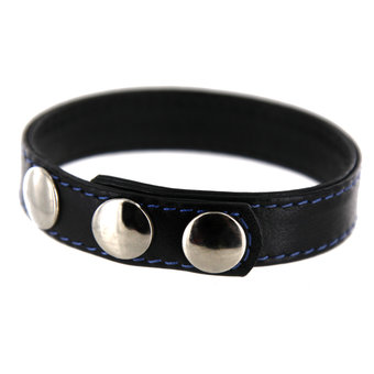 Three Snap Adjustable Leather Cock Ring