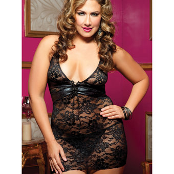 Seven Til Midnight Resist Me Wet Look and Lace Chemise
