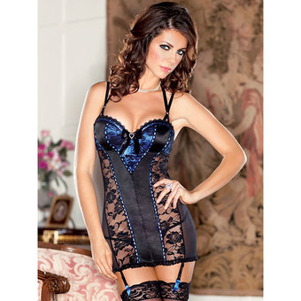 iCollection Satin and Lace Open Back Babydoll with Removable Garters