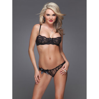 Coquette Floral Lace Bra and Knickers Set