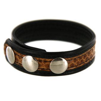 Adjustable Leather Cock Ring with Snakeskin Print