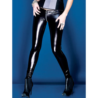 Coquette Darque Wet Look Leggings with Front Zip