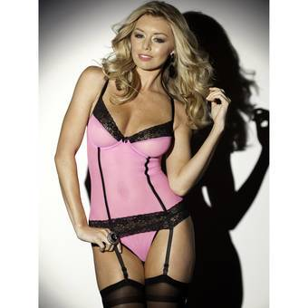 Escante Neon Pink and Black Lace Cami and Stockings Set