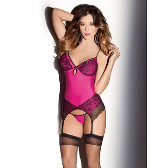 Escante Neon Lycra and Lace Basque Set