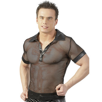 Sven O Wet Look Fishnet Shirt with Collar