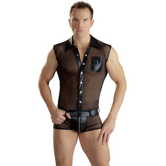 Sven O Wet Look Bodysuit with Zip Front