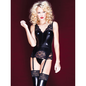 Coquette Darque Wet Look and Lace Bustier