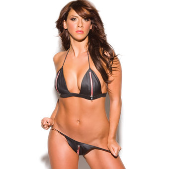 Allure Fetishwear Peekaboo Bra and Crotchless G-String Set