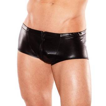 Zeus by Allure Fetishwear Wet Look Zip Boxers