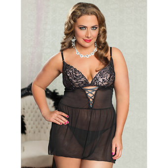 Seven Til Midnight Plus Size In the Spotlight Sheer Lace Babydoll