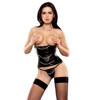Exposed Liquid Onyx Underbust Waspie and G-String Set