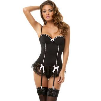 Oh La La Cheri Suspender Basque and G-String Set