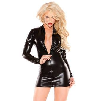 Kitten by Allure Fetishwear Wet Look Dress with Zipper Front