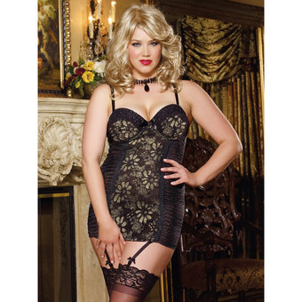 Dreamgirl Plus Size Gold Metallic Floral Lace and Polkadot Babydoll Set