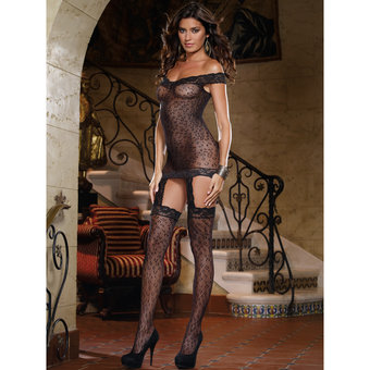 Dreamgirl Black Diamond All-In-One Leopard Print Dress and Stockings