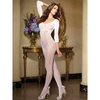 Dreamgirl Black Diamond Fishnet and Lace Crotchless Bodystocking