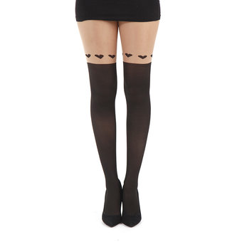 Pamela Mann Faux Suspender Tights with Heart Tops