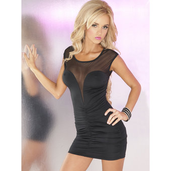Pink Lipstick Deep Plunge Ruched Mini Dress